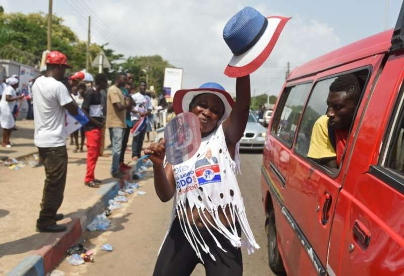 A supporter in Accra celebrates the victory of New Patriotic Party candidate Nana Akufo-Addo in Ghana's December presidential election. (Pius Utomi Ekpei/AFP/Getty Images)