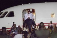 Gambia's defeated president, Yahya Jammeh, left for Equatorial Guinea, where he had been offered refuge, on Jan. 21. (Jerome Delay/AP)