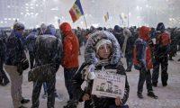 Anti-government protesters in Bucharest, Romania. Photograph: Robert Ghement/EPA