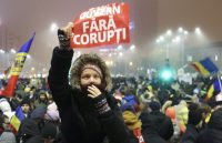 Thousands gather to protest against the Romanian government in the streets of Bucharest, February 6th. Stoyan Nenov/Reuters