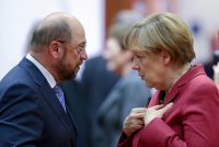 Chancellor Angela Merkel of Germany and Martin Schulz of the Social Democrats party. Credit Olivier Hoslet/European Pressphoto Agency