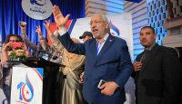 Ennahda's Rached Ghannouchi greets supporters. Photo: Getty Images.