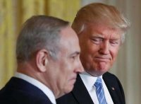President Trump and Israeli Prime Minister Benjamin Netanyahu held a news conference at the White House on Feb. 15. Pablo Martinez Monsivais AP
