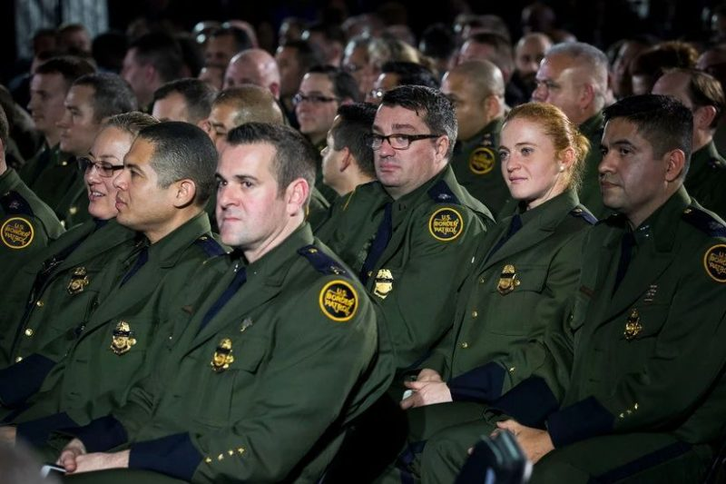 Border Patrol officers at the Department of Homeland Security in Washington after President Trump ordered the construction of a wall at the Mexican border. Credit Doug Mills/The New York Times