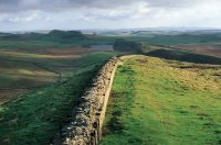 The Romans, who arrived in Britain in 55 B.C., introduced paved roads, walls (including Hadrian's Wall in the North of England, shown here), central heating, plumbing, coins and bureaucracy. DeAgostini/Getty Images