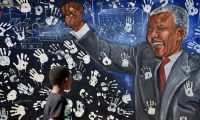 A mural on Nelson Mandela's former house in Johannesburg's Alexandra township. 'Foreignness, or the notion of 'other', has a long, anti-black history in South Africa.' Photograph: Reuters