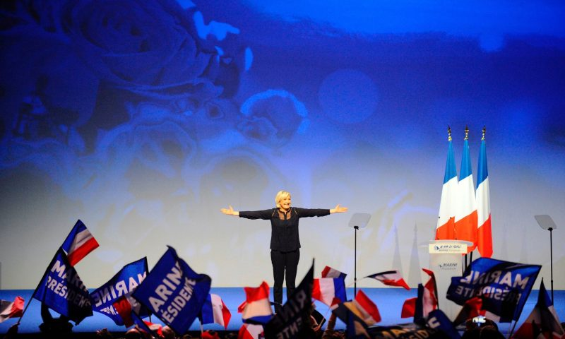 Marine Le Pen at a campaign rally in March. In the short term, a National Front win would throw the European Union into a deep crisis. Credit Jean Christophe Verhaegen/Agence France-Presse — Getty Images