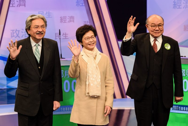 Hong Kong's three leadership candidates, from left: John Tsang, Carrie Lam-Cheng Yuet-Ngor and Woo Kok-hing before facing  off in their first televised debate in Hong Kong this month.