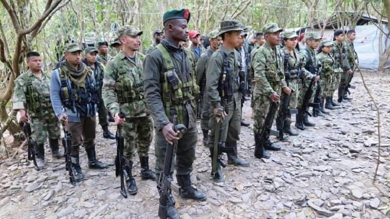 FARC fighters stand in formation in Cauca, Colombia. CRISIS GROUP/Kyle Johnson