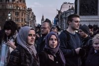 Londoners gathered at Trafalgar Square for a candlelight vigil for the victims of Wednesday's attack. Credit Sergey Ponomarev for The New York Times