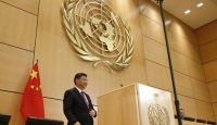 Xi Jinping at the UN European headquarters in Geneva. Photo: Getty Images.