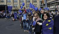 March in support of the EU in Frankfurt on 26 March. Photo via Getty Images.