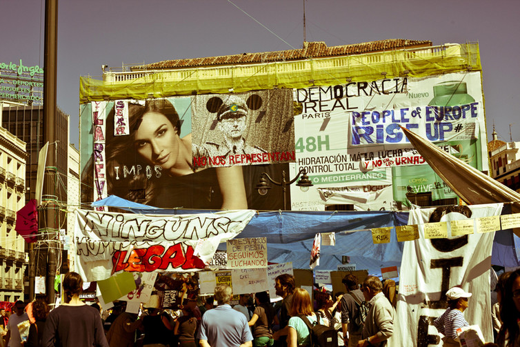 Signs from M15's Occupy Puerta del Sol, Madrid, in 2011. Diego Hernández/flickr
