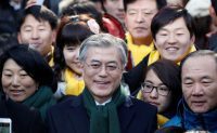 The Democratic Party standard-bearer, Moon Jae-in, center, maintains a lead in South Korea's presidential election polls.