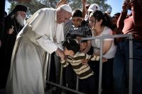 Pope Francis, during a visit at the Moria refugee camp on the island of Lesbos, Greece. Andrea Bonetti/Associated Press