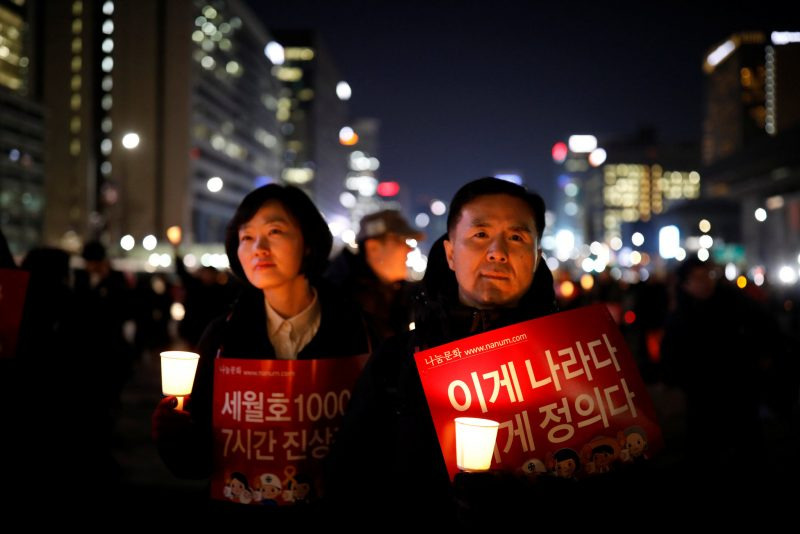 A rally in Seoul, South Korea, on Friday calling for the arrest of Park Geun-hye, who was removed from the presidency by the country's Constitutional Court. Kim Hong-Ji/Reuters