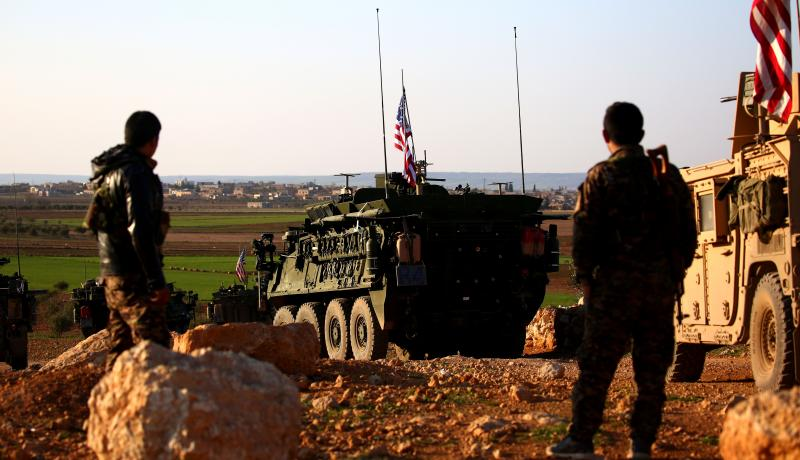 5 March: US convoy on the outskirts of Manbij in Syria. Photo: Getty Images.