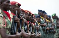 Military members from the Gabonese Armed Forces stand in formation in Libreville, on June 13 2016. US Army-Africa-Tech. Sgt. Brian Kimball/Wikimedia, CC BY-ND