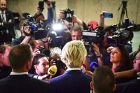 Geert Wilders addressed the media in The Hague on Thursday. Robin Utrecht/European Pressphoto Agency