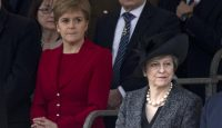 Nicola Sturgeon and Theresa May attend the commemoration of the Iraq and Afghanistan memorial in London. Photo: Getty Images.
