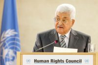 Palestinian President Mahmoud Abbas at the 34th session of the Human Rights Council, at the European headquarters of the United Nations in Geneva, Switzerland, Monday, Feb. 27, 2017. Salvatore Di Nolfi/Keystone, via Associated Press