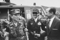 Nguyen Van Thieu, left, and Nguyen Cao Ky, center, after a successful battle in 1966.