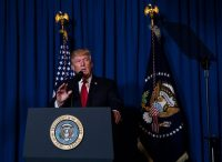 President Trump speaking after the United States carried out a missile attack in Syria on Thursday. Credit Doug Mills/The New York Times
