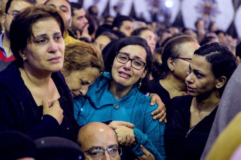 Mourners gathered at the funeral for the victims of a bomb explosion at Mar Girgis Coptic church in Tanta, Egypt on Monday. Credit Mohamed Hossam/European Pressphoto Agency
