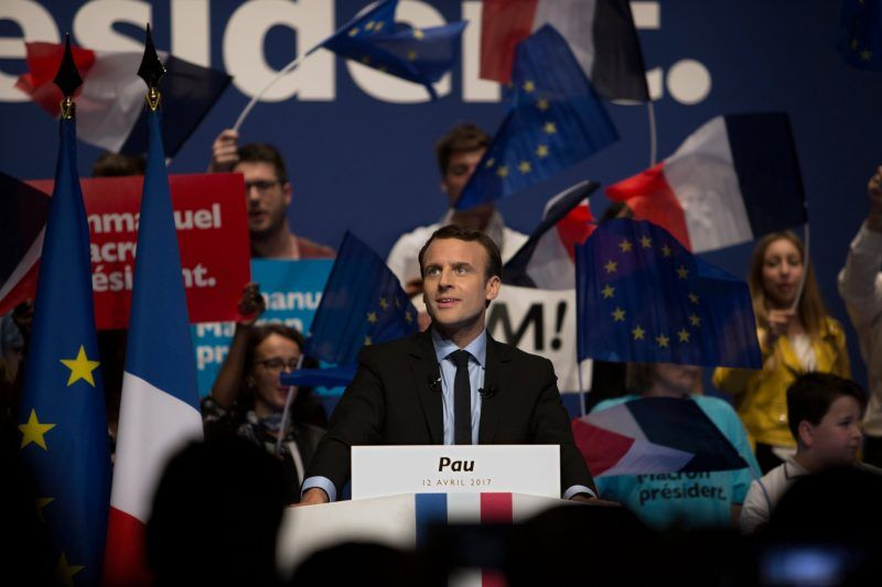 Emmanuel Macron campaigning in the south of France this month. Credit Pierre Terdjman for The New York Times