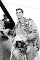 Wayne Schell beside his F-100 Super Sabre.