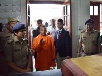 Chief Minister Yogi Adityanath of Uttar Pradesh making a surprise inspection at the Hazratganj police station last month in Lucknow, India. Credit Deepak Gupta/Hindustan Times, via Getty Images