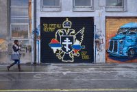 A Serbian nationalist mural in the Serbian area of Mitrovica, Kosovo, in February. Credit Pierre Crom/Getty Images