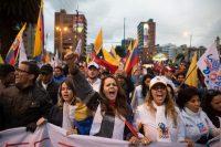 Seguidores del candidato presidencial por Creo-Suma, Guillermo Lasso, toman las calles de Quito el 7 de marzo durante una protesta para demandar el recuento de votos. Credit Edu Leon/LatinContent/Getty Images