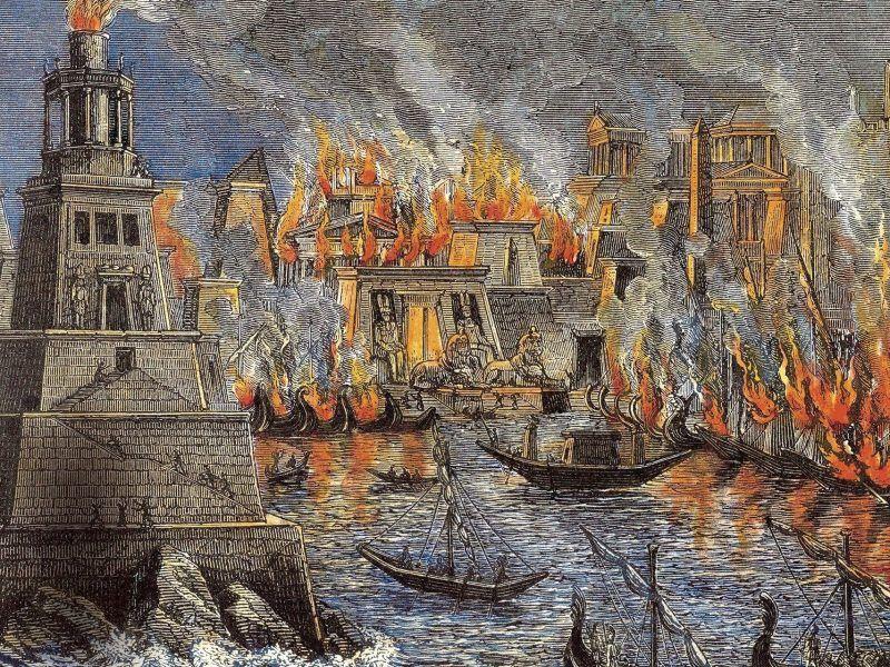 Incendio de Alejandría por Hermann Gol, 1876