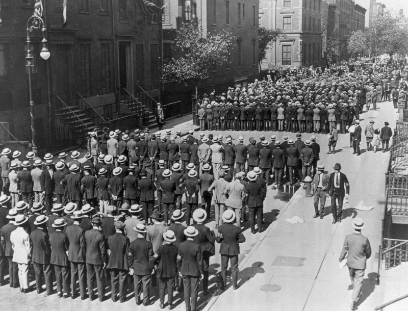 Army recruits filled a street in New York in April 1917 soon after President Woodrow Wilson declared war on Germany. Credit Associated Press