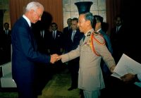 Ellsworth Bunker, left, presenting his credentials as new ambassador of the U.S. to South Vietnam, to Nguyen Van Thieu on April 28, 1967. Credit Associated Press