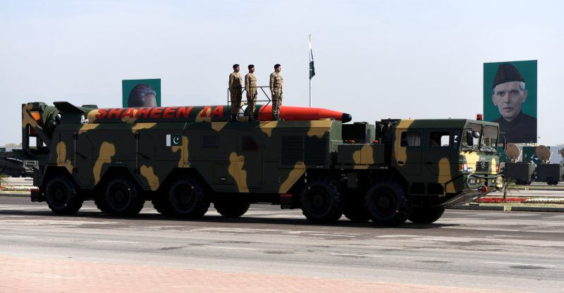 A Pakistani-developed Shaheen IA missile capable of carrying nuclear warheads during Pakistan's Republic Day celebrations in Islamabad last month. Credit T. Mughal/Europeapn Pressphoto Agency