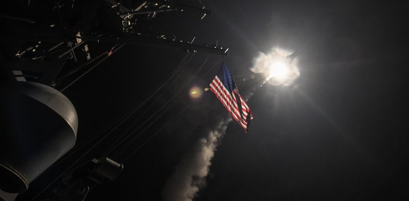 epa05893608 A handout photo made available by the US Navy Office of Information shows the guided-missile destroyer USS Porter (DDG 78) conducting strike operations while in the Mediterranean Sea, 07 April 2017. According to media reports on 07 April 2017, the United States military launched at least 50 tomahawk cruise missiles at al-Shayrat military airfield near Homs, Syria, in response to the Syrian military's alleged use of chemical weapons in an airstrike in a rebel held area in Idlib province on 04 April.  EPA/SEAMAN FORD WILLIAMS / HANDOUT  HANDOUT EDITORIAL USE ONLY/NO SALES
