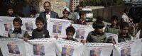 Protestation contre les plans de la coalition arabe, soutenue par les Etats-Unis, d'attaque contre le port d'Hodeidah. 19 avril 2017. © AP/Hani Mohammed
