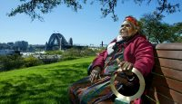Aboriginal elder Eileen Kampakuta Brown, joint winner of the 2003 Goldman Environmental Prize for her struggle to stop construction of a nuclear waste dump in South Australia. Photo: Getty Images.