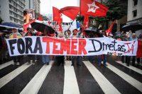 Miles de manifestantes tomaron la avenida Paulista de Sao Paulo, el 21 de mayo, exigiendo la renuncia del presidente Michel Temer. Credit Fernando Bizerra Jr/European Pressphoto Agency