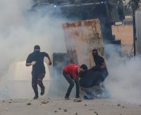 Clashes in March after the death of a young Bahraini shot at a protest in January. Credit Sayed Baqer AlKamel/NurPhoto, via Getty Images