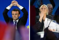 LEFT: Centrist French presidential candidate Emmanuel Macron gestures during a meeting at the Parc des Expositions in Paris, on April 23, 2017, after the first round of the presidential election. (Eric FEFERBERG/AFP/Getty Images) RIGHT: Far-right presidential candidate Marine Le Pen delivers a speech after finishing second in the first round in Henin-Beaumont, northern France, April 23, 2017. (OLIVIER HOSLET/EPA)