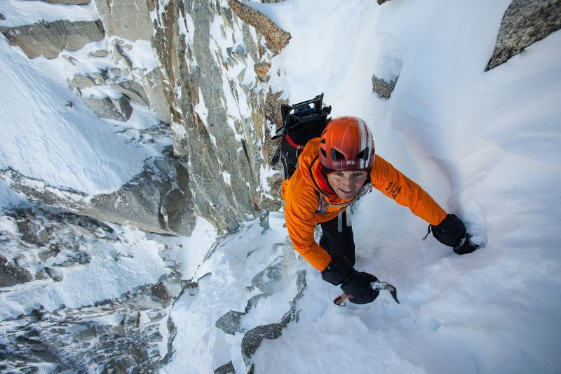 Ueli Steck on the Col du Plan on the Aiguille du Midi mountain in Chamonix, France. Credit Jonathan Griffith