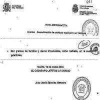 Fragmentos de la nota informativa que, sobre la desactivación de la mochila de Vallecas, firmó en solitario el comisario Sánchez Manzano.