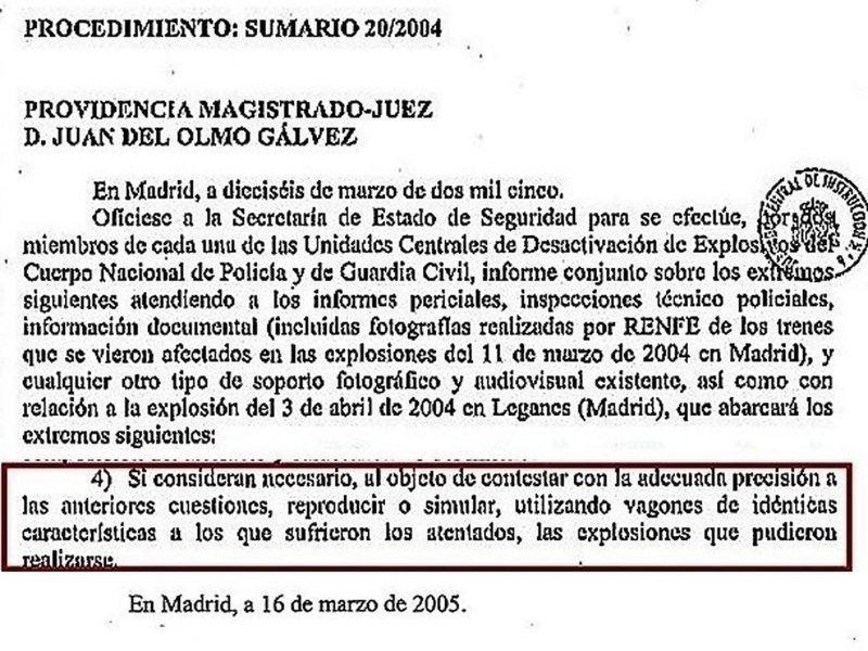 Fragmento de la providencia por la que el juez Del Olmo ordenaba realizar un informe conjunto Policía Guardia - Civil.