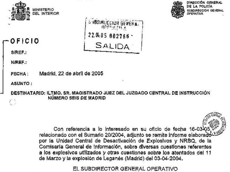 """Oficio de respuesta a la petición por el juez de un informe pericial conjunto. El Subdirector General Operativo dice adjuntar un """"informe elaborado"""" por el Tedax. En realidad, sólo lleva la firma de Sánchez Manzano."""