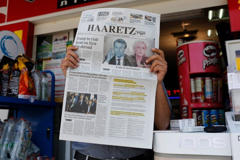 The English edition of the Israeli newspaper Haaretz in Jerusalem last week. Credit Abir Sultan/European Pressphoto Agency