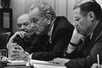 President Lyndon Johnson with Robert McNamara, right, and Dean Rusk in 1967. Credit Hulton Archive/Getty Images