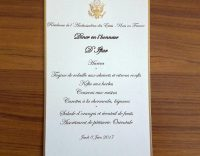 The menu for iftar, the meal for breaking fast during Ramadan, at the residence of the U.S. ambassador in Paris. Credit Akram Belkaïd